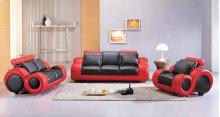 Divani Casa 4088 - Contemporary Black and Red Leather Sofa Set
