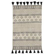 Black & White Block Print 2'x3' Rug with Tassels (Each One Will Vary)
