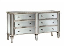 Bow-Front 6-Drawer Mirrored Chest