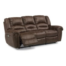 New Town Fabric Power Reclining Sofa with Power Headrests