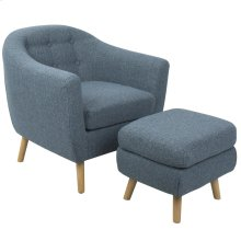 Rockwell Chair + Ottoman Set - Natural Wood, Blue Noise Fabric
