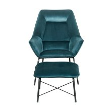 Modern Velvet Chair and Ottoman Set in Deep Aqua Blue