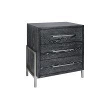 Black Cerused Oak 3 Drawer Side Table With Nickel Base & Hardware.