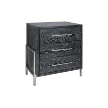 Black Cerused Oak 3 Drawer Side Table With Nickel Base & Hardware.