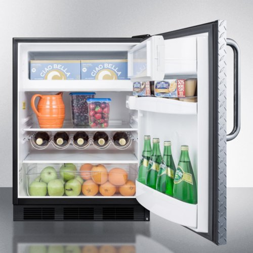 ADA Compliant Built-in Undercounter Refrigerator-freezer for Residential Use, Cycle Defrost W/deluxe Interior, Diamond Plate Door, Tb Handle, Black Cabinet