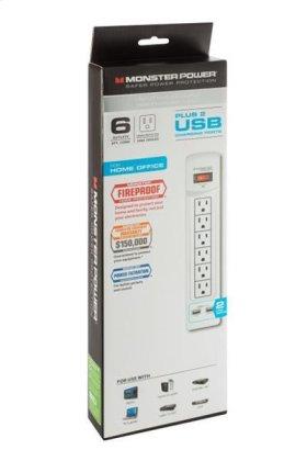 Monster Core Power 600 USB AV Surge Protector - White