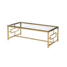 Gold Metal/glass Cocktail Table, Kd