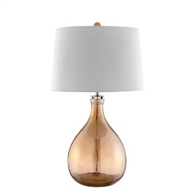 Werther Table Lamp In Mouth-blown Amber-tinted Glass With White Linen Hardback Shade