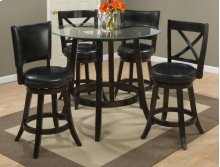 Aaron Glass Top Counter Height Table With Two X Back Swivel Stools