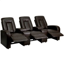 Eclipse Series 3-Seat Push Button Motorized Reclining Brown Leather Theater Seating Unit with Cup Holders