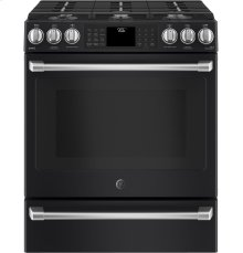 "GE Café Series 30"" Slide-In Front Control Range with Warming Drawer"