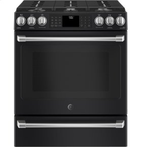 """GE Cafe Series 30"""" Slide-In Front Control Range with Warming Drawer"""