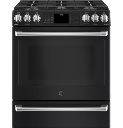 "GE Café Series 30"" Slide-In Front Control Range with Warming Drawer Product Image"