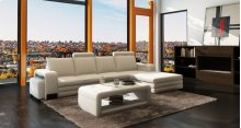 Divani Casa 3131 Modern White Bonded Leather Sectional Sofa w/Ottoman and Coffee Table