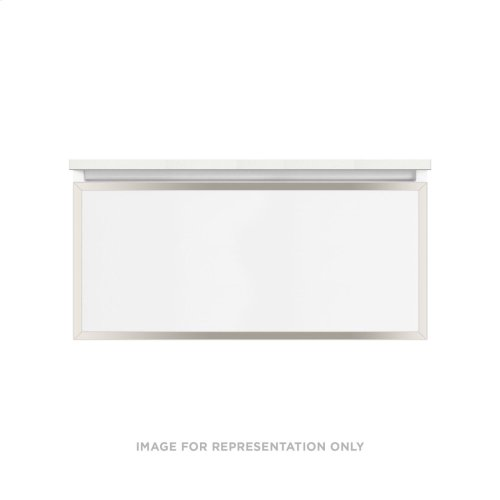 """Profiles 36-1/8"""" X 15"""" X 18-3/4"""" Framed Single Drawer Vanity In Matte White With Polished Nickel Finish and Slow-close Plumbing Drawer"""