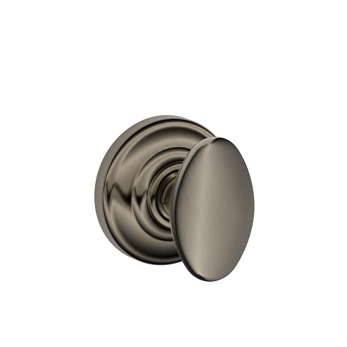 Siena Knob with Andover trim Non-turning Lock - Antique Pewter