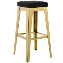 Arrive Gold Stainless Steel Upholstered Velvet Bar Stool in Gold Black