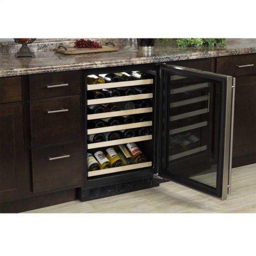 "Marvel 24"" High Efficiency Single Zone Wine Refrigerator - Stainless Steel Frame, Glass Door - Left Hinge, Stainless Designer Handle"