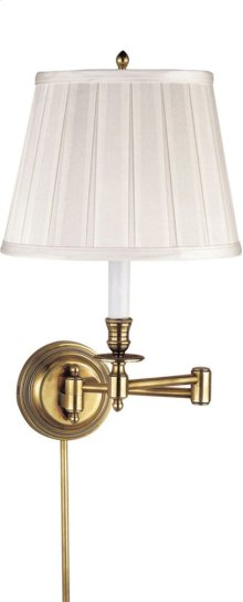 Visual Comfort S2010HAB-S Studio Candle Stick 19 inch 60 watt Hand-Rubbed Antique Brass Swing-Arm Wall Light in Silk