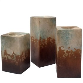 Water Blue Cube Candleholders (Set of 3)
