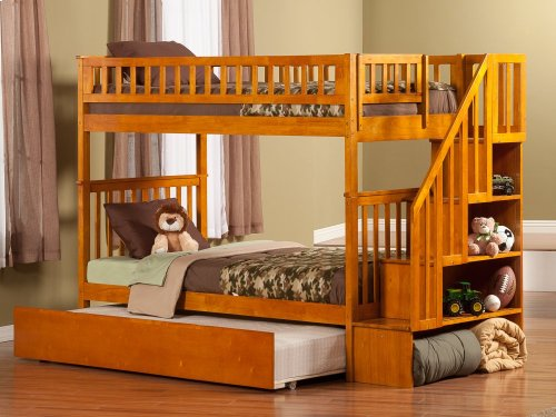 Woodland Staircase Bunk Bed Twin over Twin with Urban Trundle Bed in Caramel Latte