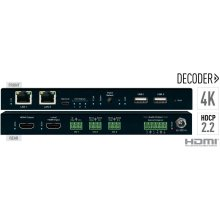Enterprise AV over IP Decoder, 4K, 2 PoE ports LAN Switch, Local HDMI Switching, Audio De-Embedding, Video Wall Processing, KVM/USB