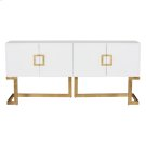 White Lacquer Media Console With Gold Leaf Base & Square Handles Product Image
