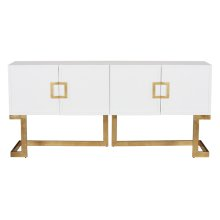 White Lacquer Media Console With Gold Leaf Base & Square Handles