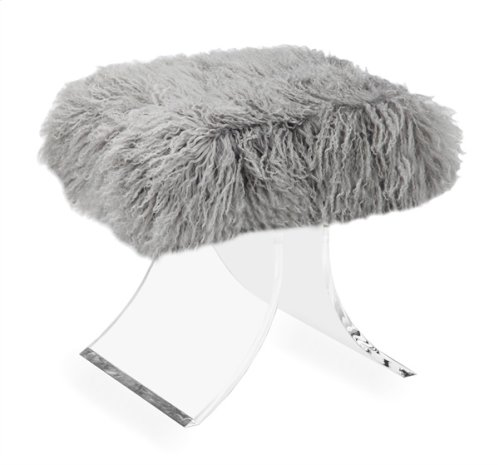 Serena Stool - Grey Sheepskin