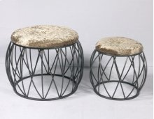 2pc Set Stools-silver Finish-cream Fabric-su
