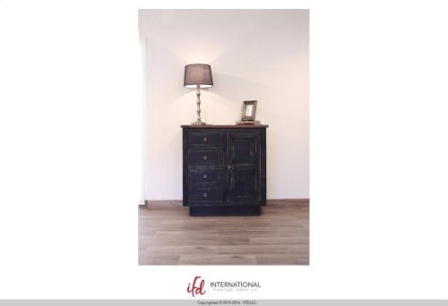 4 Drawers, 1 door Console - Black Finish