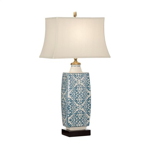 Embroidered Bottle Lamp-blue