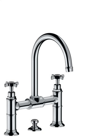 Polished Chrome 2-handle basin mixer 220 with pop-up waste set