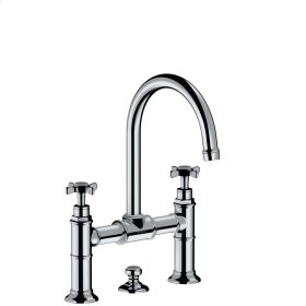 Polished Chrome 2-handle basin mixer 220 with cross handles and pop-up waste set