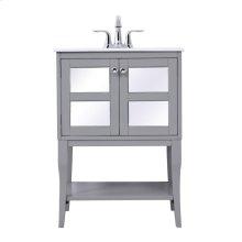 24 in. single bathroom mirrored vanity set in Grey