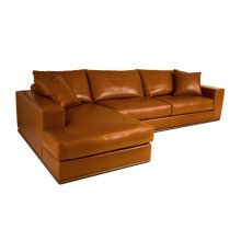 Archer (Metal Base) 2pc Sectional (Leather)