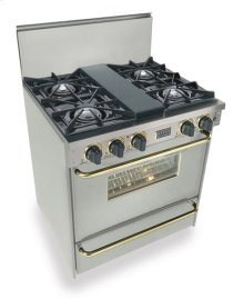 "30"" All Gas Range, Open Burners, Stainless Steel with Brass Trim"
