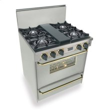 """30"""" All Gas Range, Open Burners, Stainless Steel with Brass Trim"""