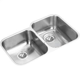 "Elkay Stainless Steel 31-1/4"" x 20-1/2"" x 8"", Offset Double Bowl Undermount Sink Kit"