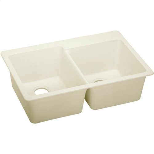 "Elkay Quartz Luxe 33"" x 22"" x 9-1/2"", Offset Double Bowl Drop-in Sink"