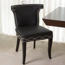 Casino Chair-Black Leather w/Nickel Tacks