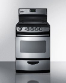 """24"""" Wide Smoothtop Electric Range In Stainless Steel, With Lower Storage Drawer, Oven Window, and Digital Clock"""