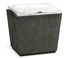 Rectangular Grey & Faux White Marble Storage Stool