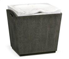 Rectangular Grey & Faux White Marble Storage Stool