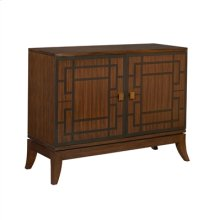 ROSEWOOD FINISHED CHIFFONIER W ITH BLACK MARQUETRY,CLASSIC BR ASS ACCENTS