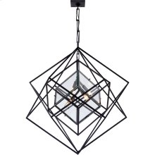 Visual Comfort KW5021AI-CG Kelly Wearstler Cubist 4 Light 31 inch Aged Iron Pendant Ceiling Light, Kelly Wearstler, Medium, Chandelier, Clear Glass