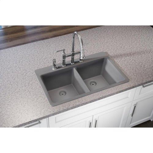 "Elkay Quartz Classic 33"" x 22"" x 9-1/2"", Equal Double Bowl Drop-in Sink, Greystone"