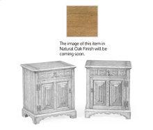 Pair of linenfold natural oak bedside cabinets