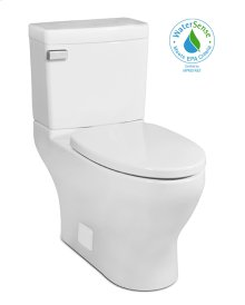 White CADENCE II Two-Piece Toilet 1.28gpf, Compact-Elongated, Front-Mount with White Enamel Metal Finish