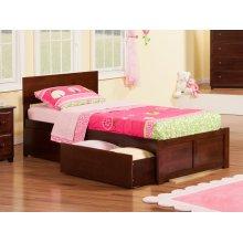 Orlando Twin Flat Panel Foot Board with 2 Urban Bed Drawers Walnut